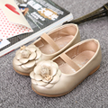 school flat shoes for girls children girl party shoes kids leather shoes rose gold black with big flowers baby walker