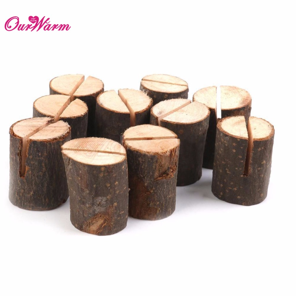 50pcslot natural wooden card holder seat folder rustic photo holder wedding place card table number holderin party diy decorations from home u0026 garden on