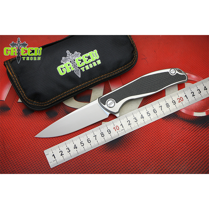 ESPINHO VERDE F95 CD M390 lâmina de Titânio fibra de carbono lidar com pocke Flipper faca dobrável Outdoor camping caça facas ferramentas EDC