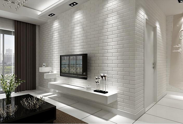 Imitation white brick wallpaper white living room TV backdrop ...