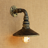 Modern Vintage Iron wall lamp Water pipe style 4 colors metal lampshade for living room bedroom hallway restaurant E27