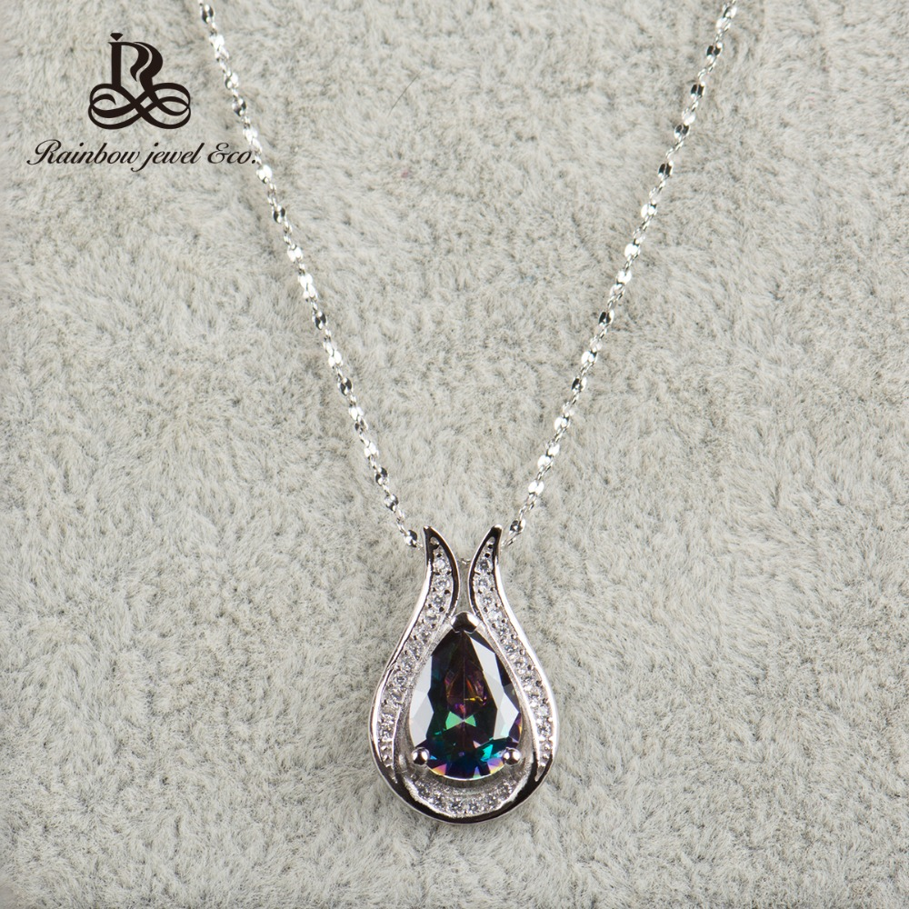 Wholesale 100 real 925 Sterling Silver pendant Brand TOP Quality Rainbow Fire Mystic Crystal Necklace for
