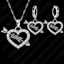 Trendy Wedding Jewelry Sets For Brides Heart Shape Women Silver Cubic Zirconia Pendants Necklaces Earrings Set Bijoux(China)