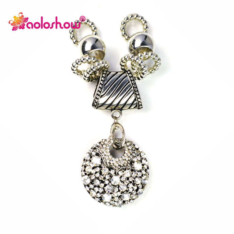 Vintage Silver Metal Full Rhinestones Shiny Drop Pendant for DIY Making Scarf Jewelry Charm Accessories Scarf Parts Finding P624