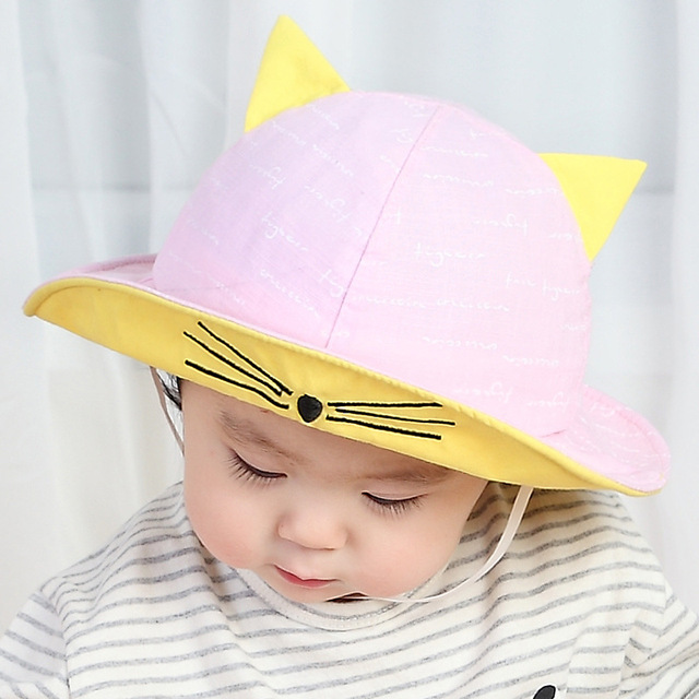 a2831f0d583 Baby Bucket Hat Cartoon Cat Sun Cap Child Spring Summer Outdoor Cotton Caps  Infant Beach Bucket Hats 1-3 Years