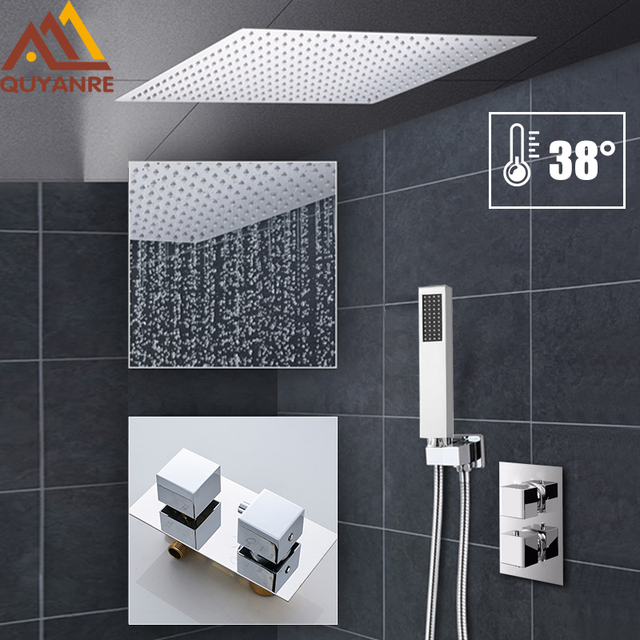 Chrome 16″ Large Rainfall Shower 2-way Thermostatic Shower Faucets Set Ultrathin Shower Head Concealed Bathtub Shower System