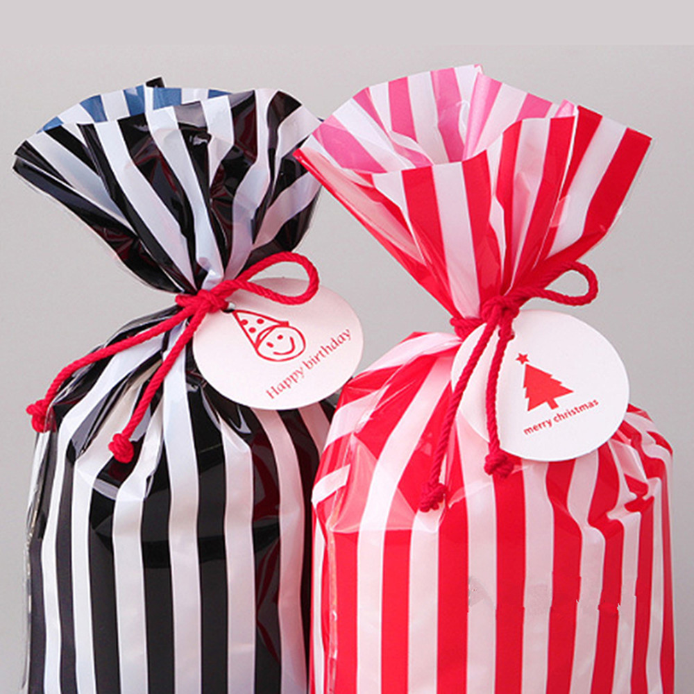 Striped Red Black Gift Favor Plastic Bags For Cookie Candy Cake ...
