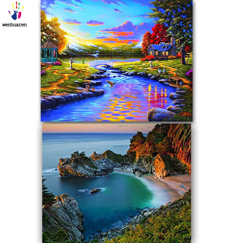 DIY colorings pictures by numbers with colors Beautiful sea picture drawing painting by numbers framed Home