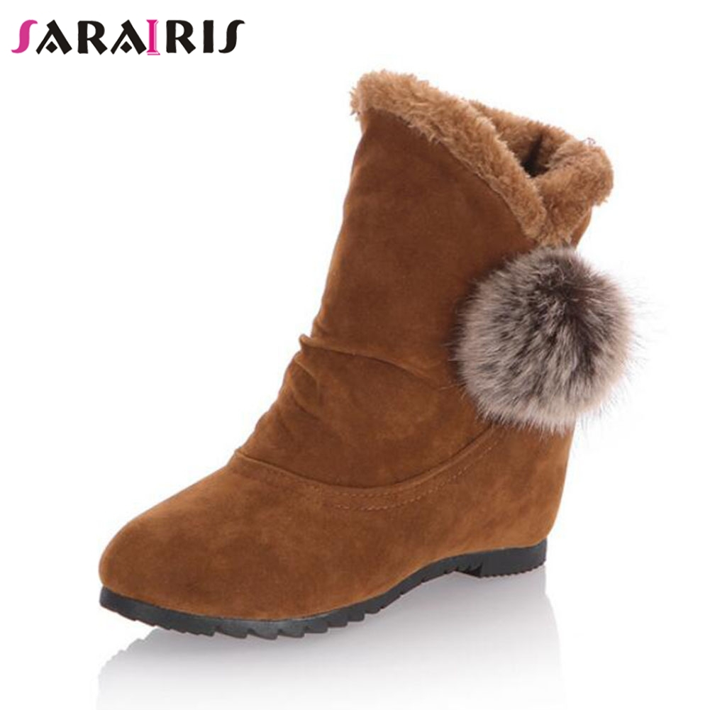 SARAIRIS New Height Increasing Slip On Solid Round Toe Shoes Woman Casual women's Autumn Winter Ankle Boots 3 Colors