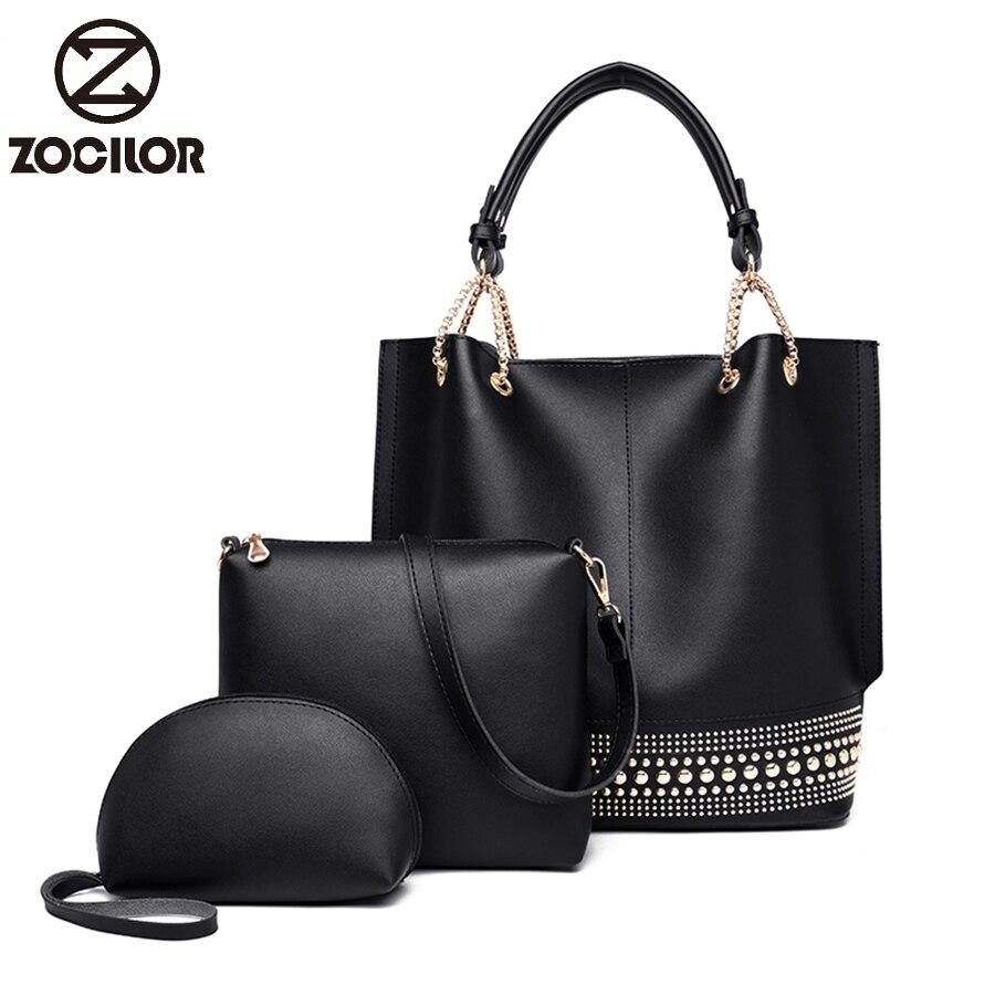 Fashion Rivet 3sets Women Handbags Women Famous Brands PU Leather Female High Quality Luxury Shoulder Bag Designer Handbag Sac