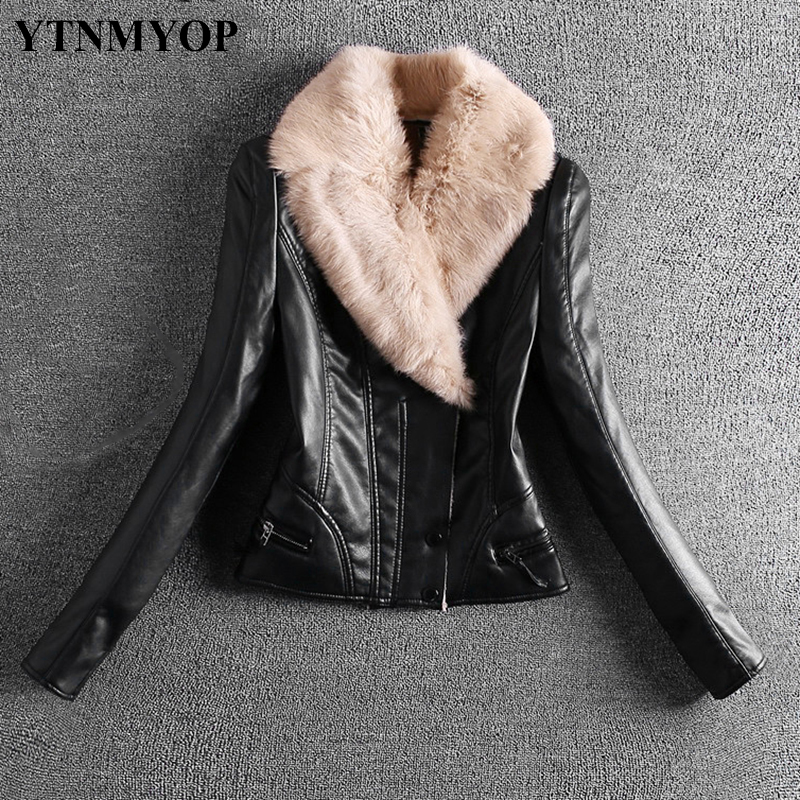 YTNMYOP 2019 Slim Rex Rabbit Real Fur Collar Thick Women Leather Jacket Autumn Winter Thick Leather