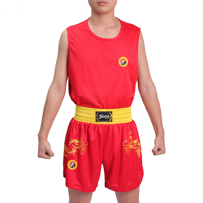 Wushu Sanda Uniform  Boxing Suit For Sanda Kick Boxing Training Competition