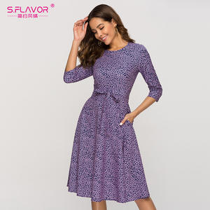 Image 3 - S.FLAVOR Casual Purple Floral Printed Women Dress Classic O neck Short A line Dress For Female Elegant 2020 Summer Vestidos