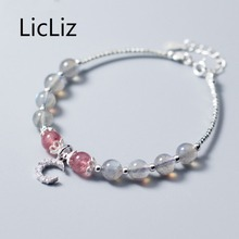 LicLiz 2019 New 925 Sterling Silver Strawberry Quartz Bangles for Women Natural Moonstone Adjustable Link Chain Jewelry LB0132 licliz 2019 new 925 sterling silver strawberry quartz bangles for women natural moonstone adjustable link chain jewelry lb0132