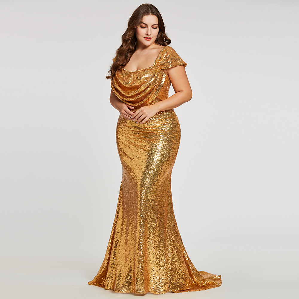 Dressv golden straps evening dress plus size draped cheap zipper up