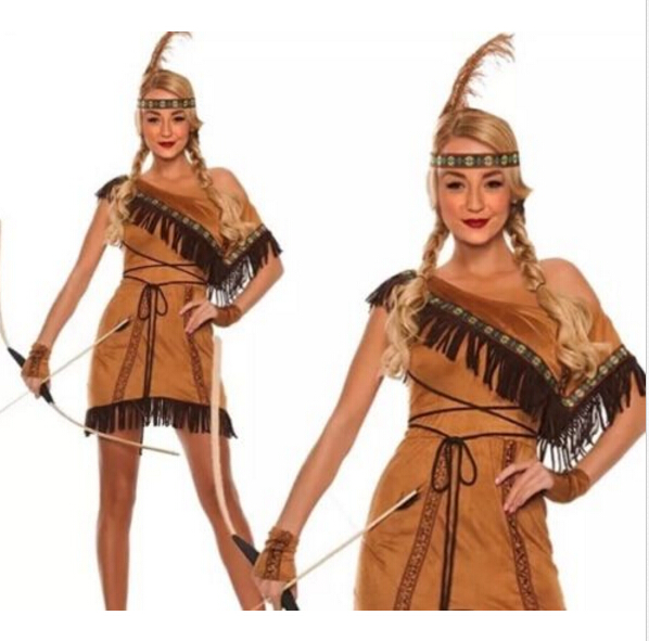 Adult Native Red Indian Woman Pocahontas Squaw Fancy Dress -9408