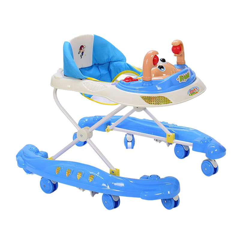 Foldable Baby Walker Seat Baby Walker with Wheels Durable Multifunction Playing Seat Toddler Learn Walking Aid