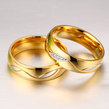 Meaeguet Classic Couple Rings For Lover's Cubic Zirconia Wedding Ring Gold-Color Stainless Steel Anel Jewelry