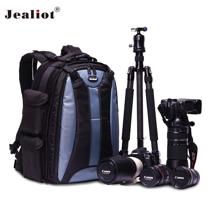 Jealiot Professional Camera Bag 15.6 laptop Backpack waterproof DSLR digital camera Photo case for Canon Nikon Free shipping lowepro protactic 450 aw backpack rain professional slr for two cameras bag shoulder camera bag dslr 15 inch laptop