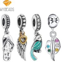 WYBEADS 925 Sterling Silver Fairy Charm Pendant CZ Charms European Bead Fit Bracelets Bangle DIY Accessories
