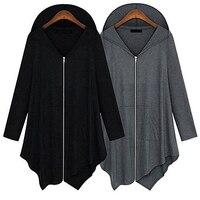 Женская мода Осень корейский стиль длинный рукав молния нерегулярное пальто куртка кардиган