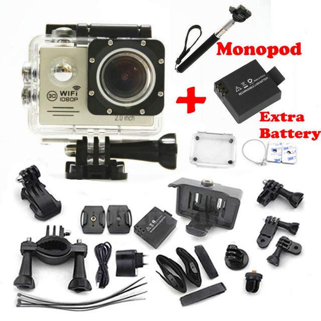 Câmera ação 1080 P Wi-fi câmera Esporte extremo Capacete de Mergulho À Prova D' Água mini Cam + monopé + Bateria Extra 7000