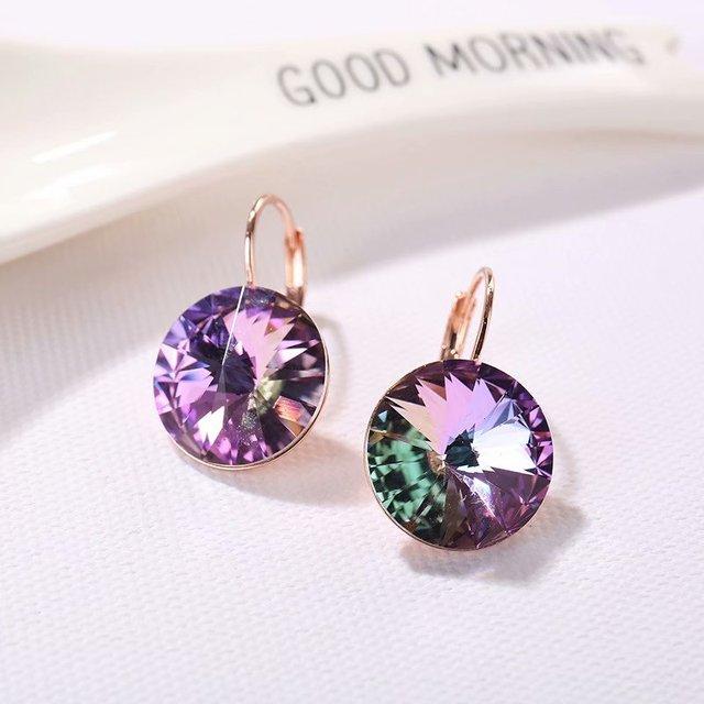 ¡Oferta! pendientes colgantes de cristales de Swarovski 2019 con piedras redondas para mujer, elegantes joyas de boda para fiestas en venta