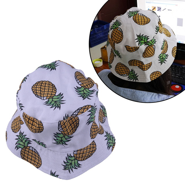 a5b56ee3ddc Unisex Folding Spring Summer Bucket Hats Funky Pineapple Fruit Print Fishing  Fisherman Hat Cap Casual Beach Sunhat