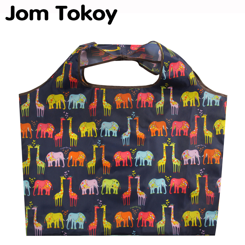 Jomtokoy Animals Print New Shopping Bag Lady Foldable Oxford Cloth Reusable Fruit Grocery Pouch Recycle Organization Bag