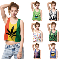 New Design Summer Fashion Women Crop Tops Sexy Tank Tops Vintage White Skeleton Print Tops Girls