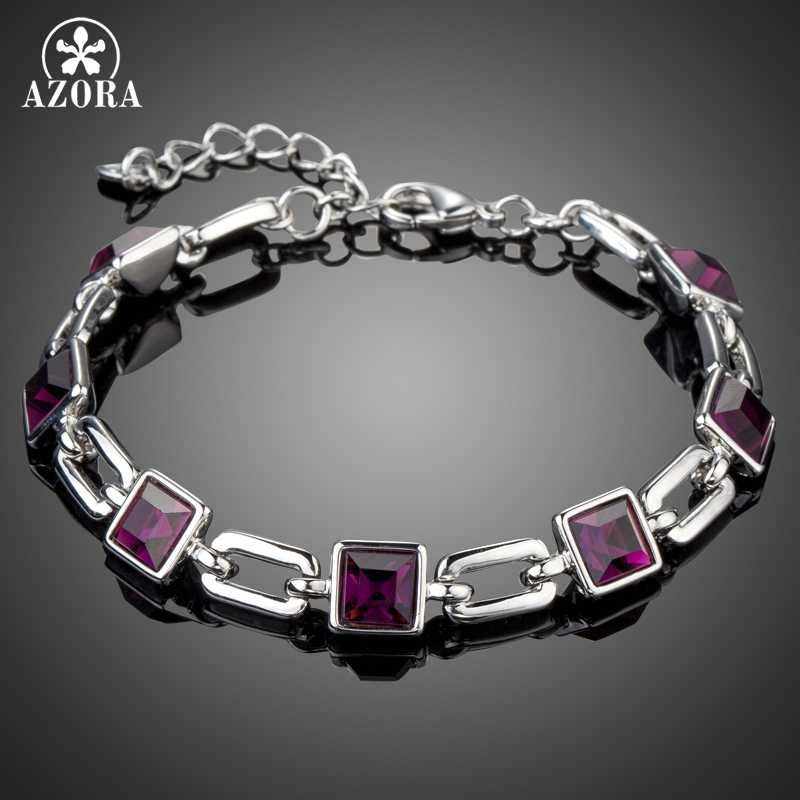 AZORA Vintage Charm Purple Square Austrian Crystals Fashion Chain & Link Bracelets for Women White Gold Color Bracelet TS0164