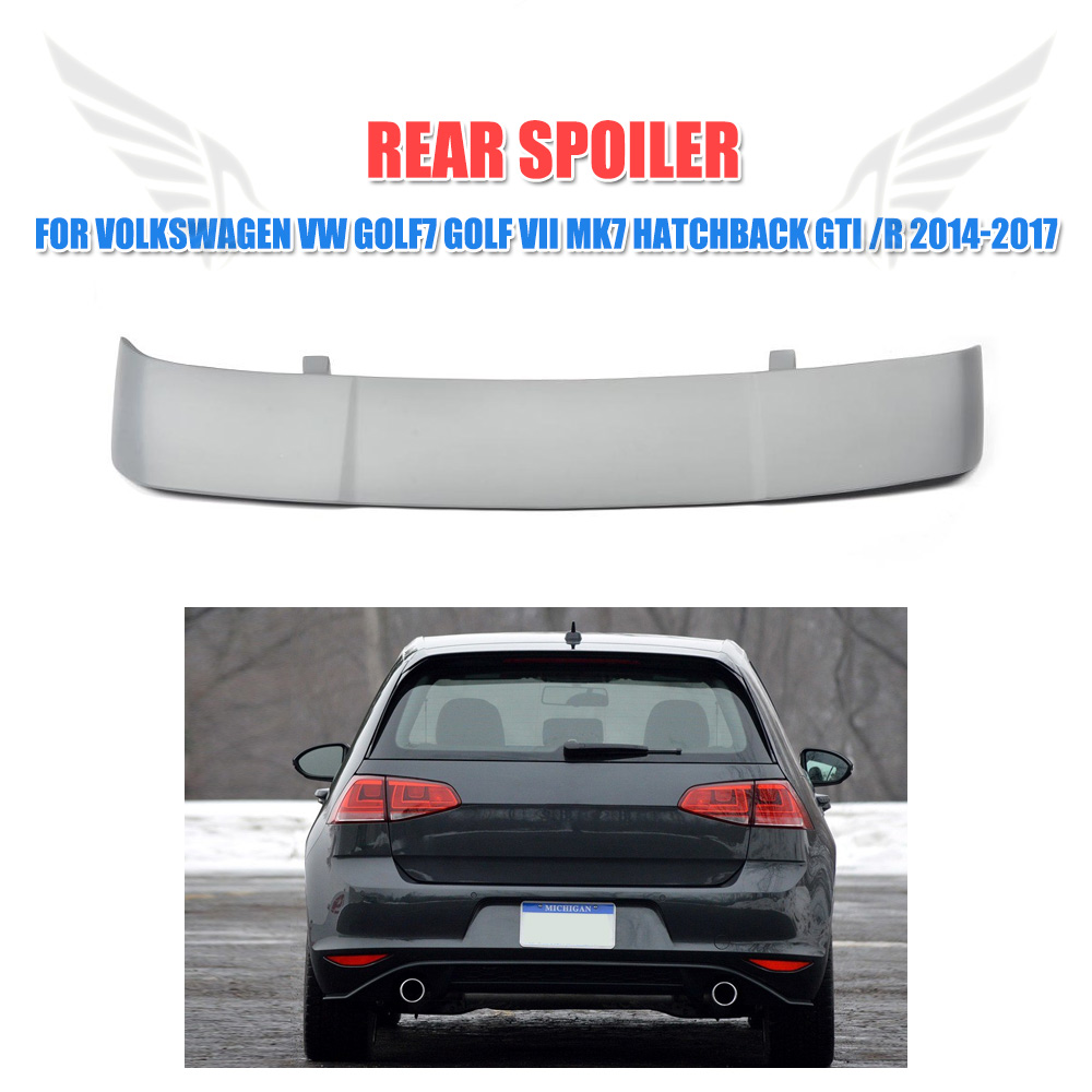 FRP Unpainted Grey Primer Rear Roof Wing Spoiler for Volkswagen VW Golf 7 MK7 VII GTI R Hatchback 2014-2017 Car Styling