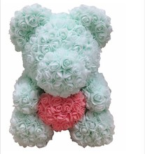 40cm Artificial Flowers Rose Bear Multicolor Foam Teddy Girlfriend Valentines Day Gift Birthday Party Decoration