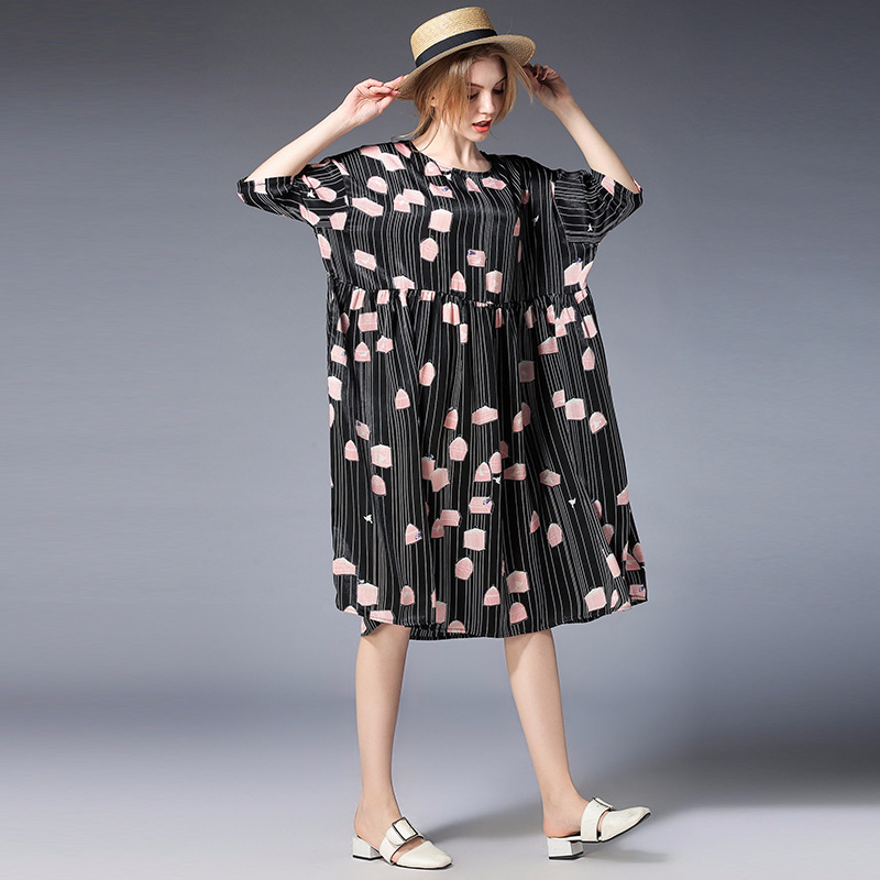 Europe And America Maternity Dress Casual Pregnancy Dresses Knee-length Half Sleeve Print Pregnant Dresses Maternity Clothes