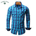 JUNGLE ZONE european size Men's shirt Long Sleeve Plaid Shirts Brand Mens shirts  Casual Denim Style Checks Shirts 102