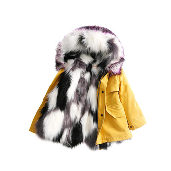 Children Winter Jackets Boys Girls Faux Fox Fur Coats Detachable Multi Fur lining Kid Long Warm Parkas Toddler Pink Outerwears