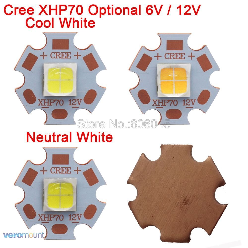 Cree XHP70 6V or 12V 6500K Cool White, 5000K Neutral White, 3000K Warm White High Power LED Emitter on 16mm 20mm Copper PCB Base cree xhp70 cool white neutral white warm white high power led emitter 30w 6v or 12v for led scuba flashlight diver torch light