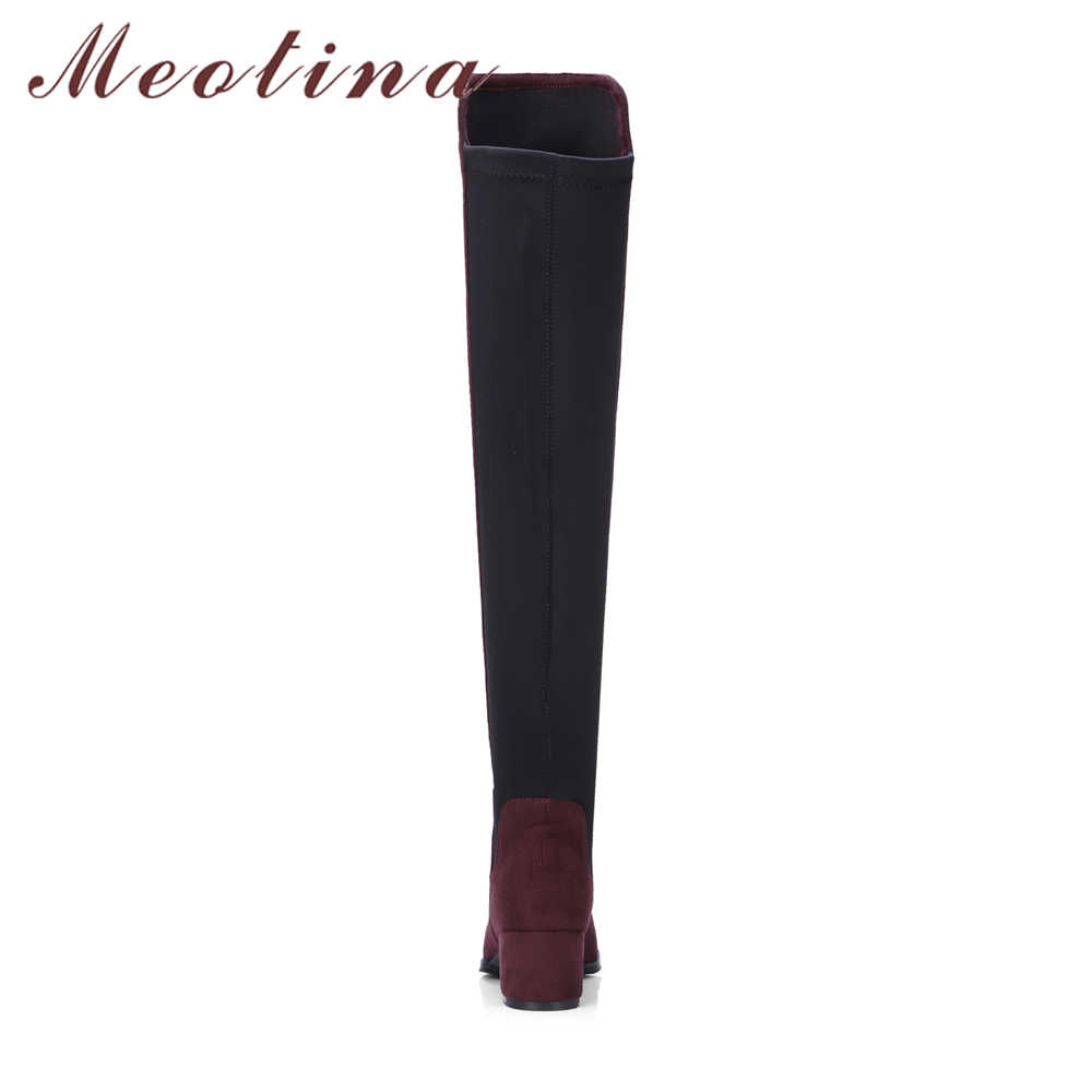 Meotina Kış Uyluk Yüksek Çizmeler Kadın Diz Çizmeler Streç Blok Topuklu Uzun binici çizmeleri Bayanlar Uzun Ayakkabı Siyah 34 -43