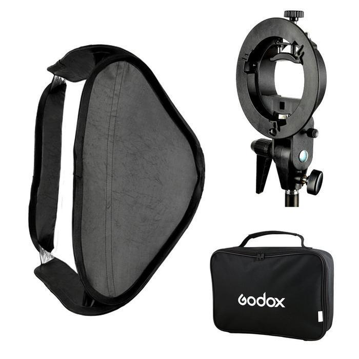 Godox S Type Speedlite Bracket Bowens Mount Holder + 40 x 40cm Softbox for Studio Photography Flash Diffuser