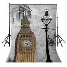 150x220cm Retro World Map Backdrop Big Ben Elizabeth Tower Photography Background