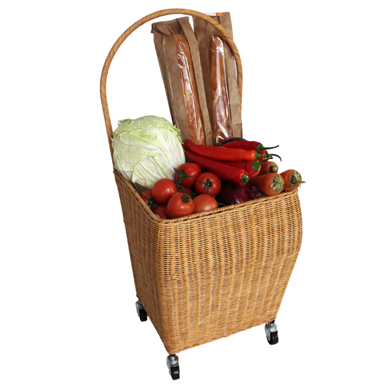 A,high quality Natural plant rattan Trolley shopping cart Basket durable Trolley with aluminum universal wheel