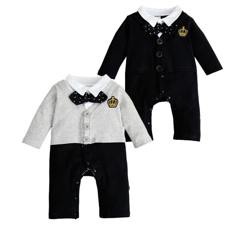 427deb6abf3e New Baby Boy Romper Gentleman With Bowtie Newborn Outfits Baby Jumpsuit  Long Sleeve Casual One-