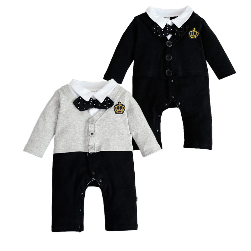 New Baby Boy Romper Gentleman With Bowtie Newborn Outfits Baby Jumpsuit Long Sleeve Casual One-pieces Bebes Romper Black Grey ...