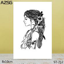 AZSG Young woman Clear Stamps For DIY Scrapbooking/Card Making/Album Decorative Silicon Stamp Crafts