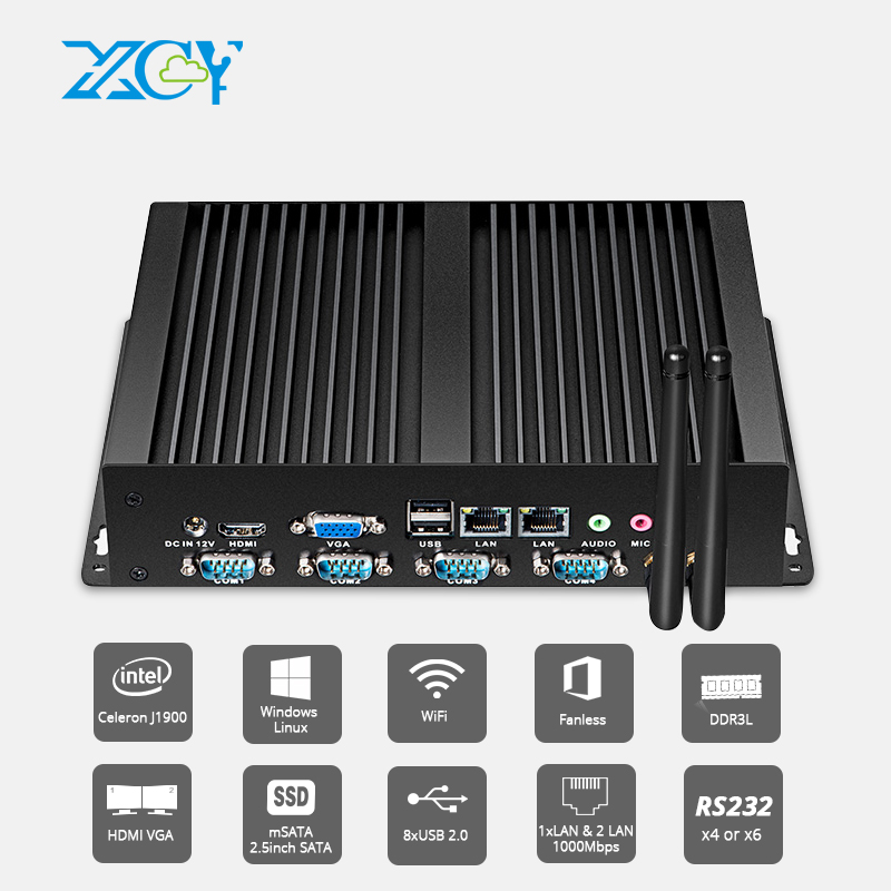 XCY Industriel Sans Ventilateur Mini PC Pentium 2117U 4x RS232 COM Double Ethernet LAN HDMI VGA WIFI Windows Linux Ordinateur Embed CIB