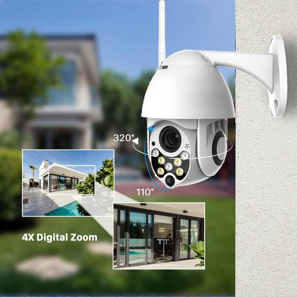 BESDER 1080P Cloud Storage Wireless PTZ IP Camera 4X Digital Zoom Speed Dome Camera Outdoor WIFI Audio P2P CCTV Surveillance