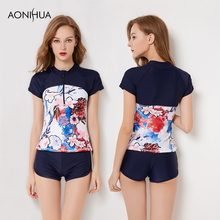 AONIHUA Two Piece Sport Swimsuits For Women High Waist Shorts Wetsuit Large Size Diving Bathing Surf Suits Sexy Female Swim wear