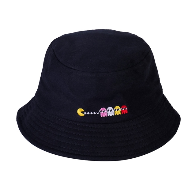New Cartoon Embroidery Eat Peas Hat Foldable Shade Fisherman Bucket Cap Men  And Women Hip Hop Cool Outdoor Sports Solid Color b53c29efd860