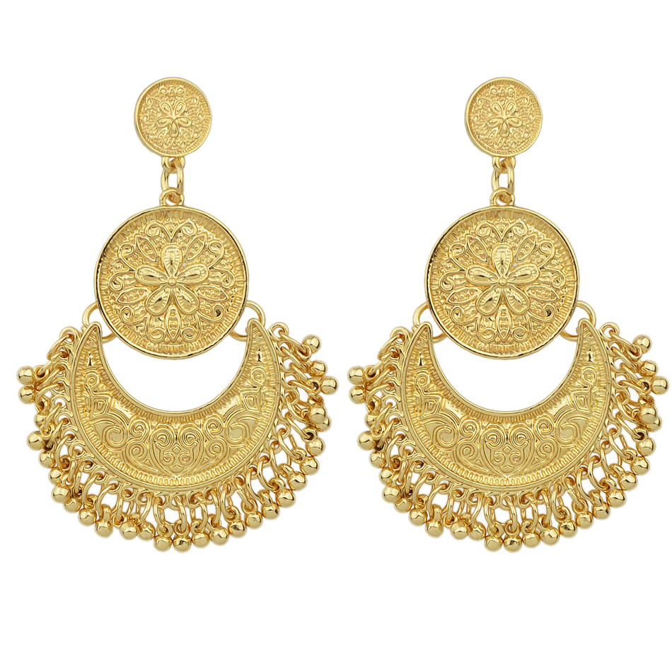 Fanhua Jewelry Chandelier Earrings Antique Gold Color Silver Geometric Ethnic Statement Fashion Accessories In Drop From