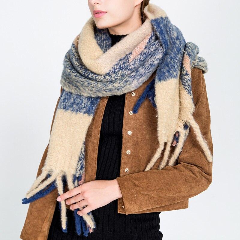Muchique Winter Scarf Warm Women Scarf Plaid Scarfs for Ladies Big Shawls and Wraps Fashion Pashmina 775065